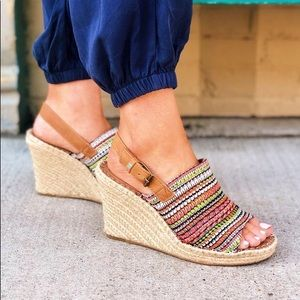 TOMS Monica Colorful Woven Wedge Espadrille Sandal